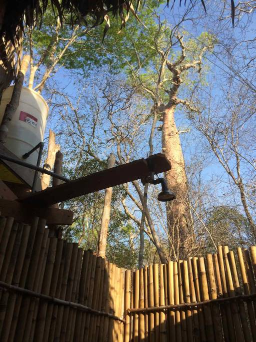A barrel feeds a pipe shower in the open air forest