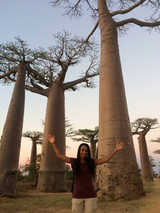 me standing with my arms up in front of baobab trees and a pink sky