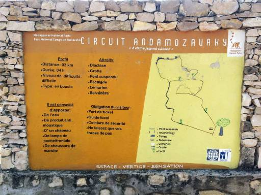 a very vague trail map with minimal French descriptions