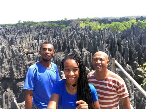 Brown, me, and Rivo on top of Tsingy de Bemaraha National Park
