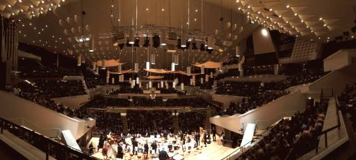 The Berlin Philharmonic Hall from behind the orchestra
