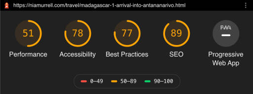 SCORES performance 51, accessibility 78, best practices 77, SEO 89