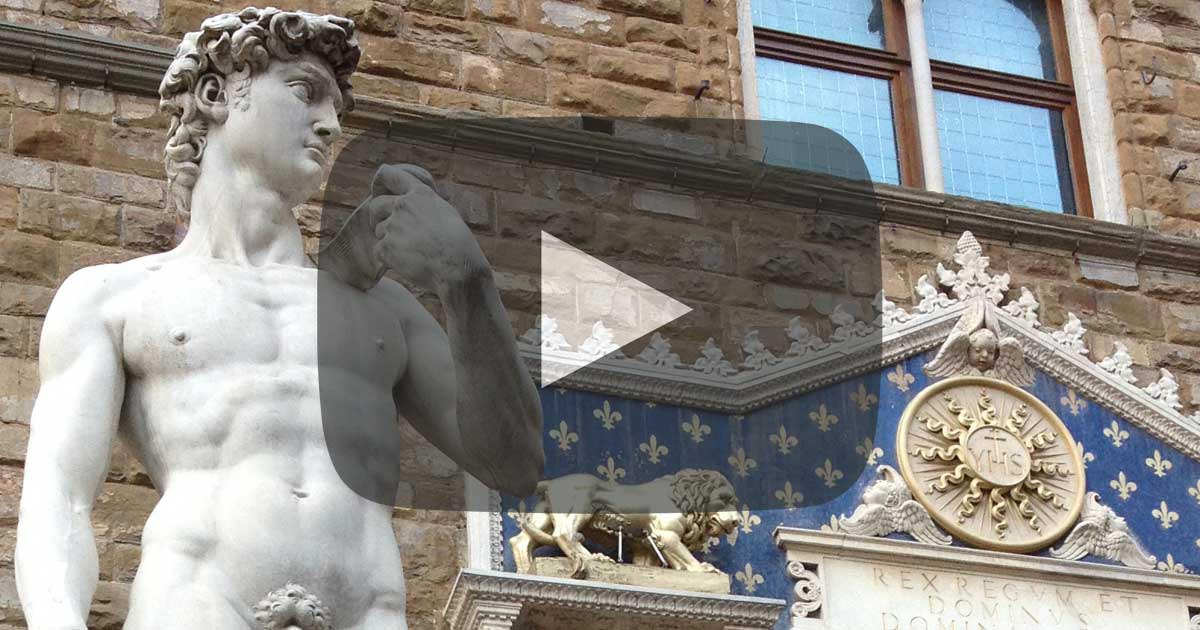 A replica of Michelangelo's David statue