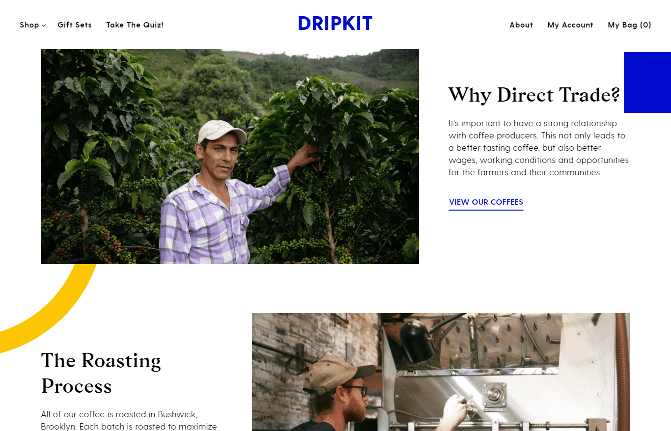 Dripkit Our Coffee Page.