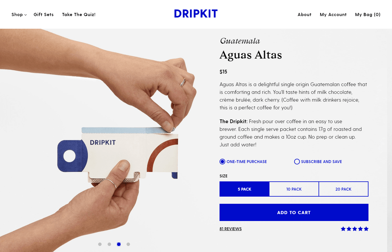 Dripkit product page for purchasing Aguas Altas Coffee.