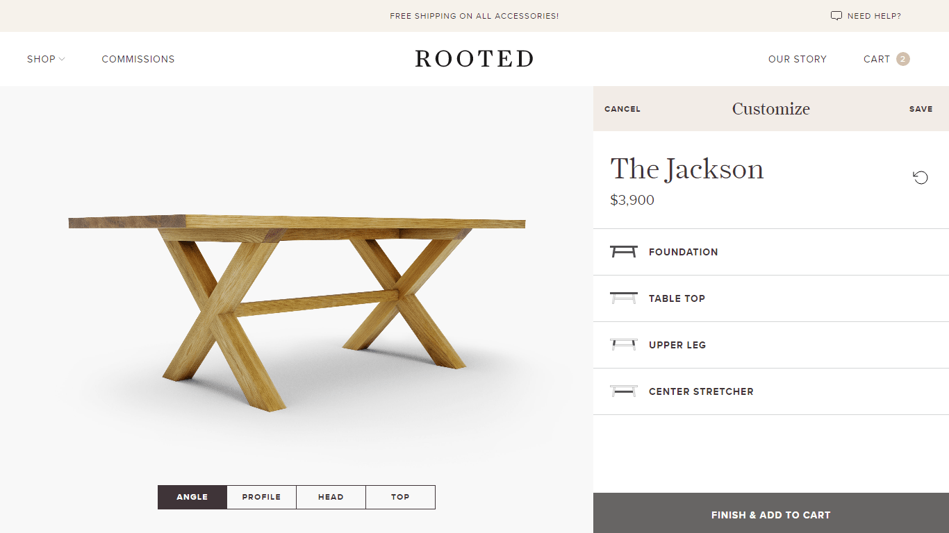 Rooted table builder, with a rendering of the currently designed table on the left and options to customize on the right.