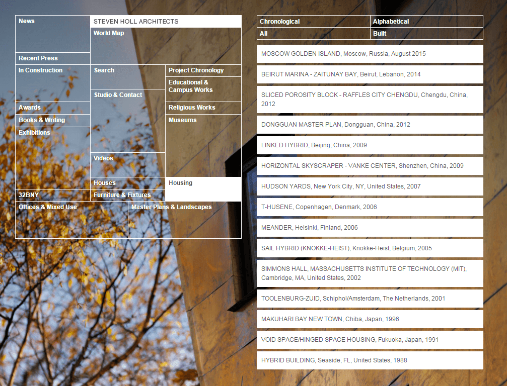 Steven Holl Architects homepage. Features an asymmetric menu on the left and list of projects and project filters on the right.