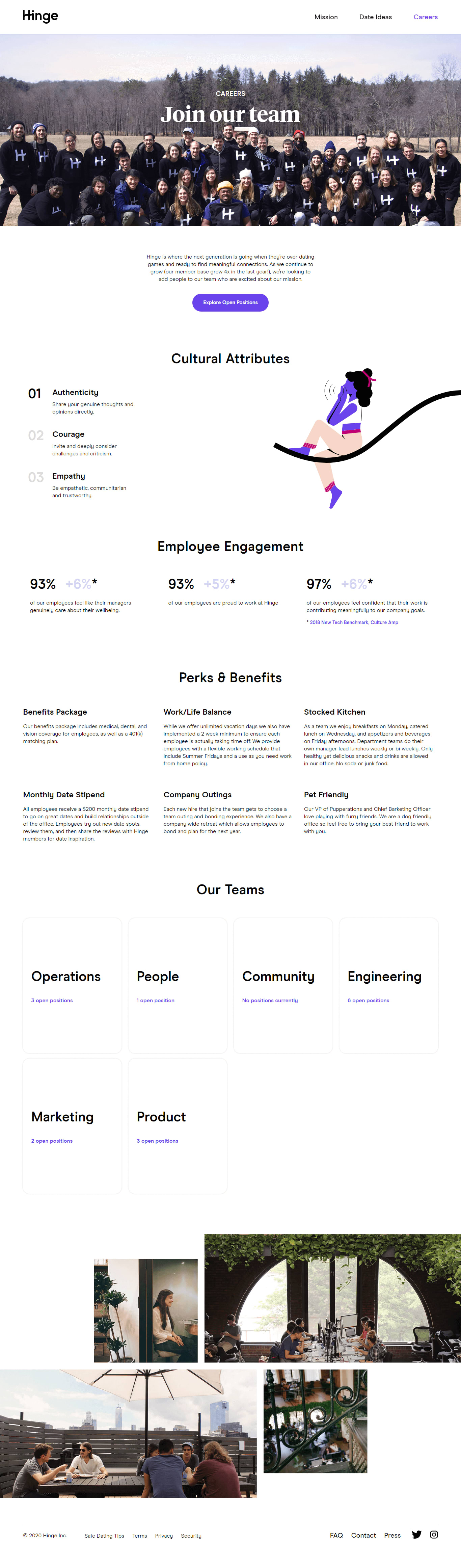 Hinge team and careers page.