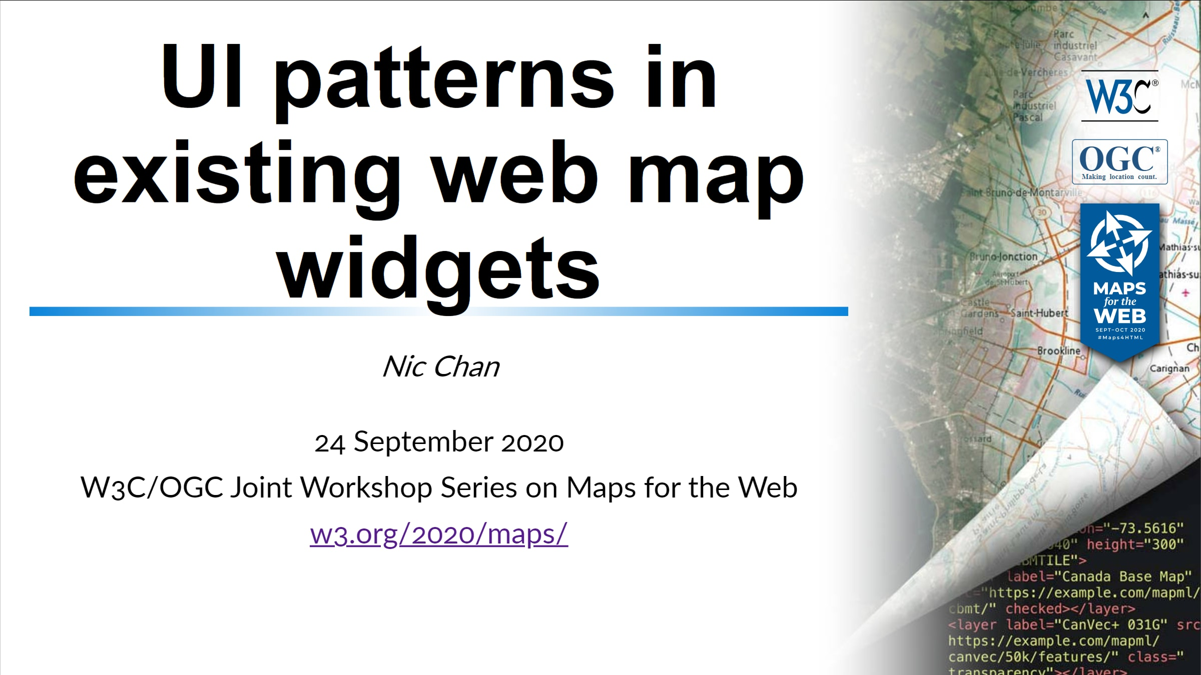 UI Patterns in existing web maps widget presentation slides cover page
