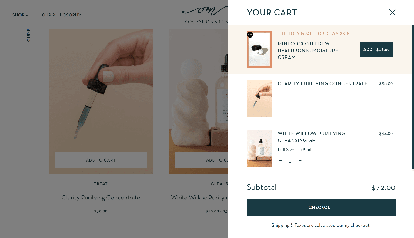 Om shopping cart with upsell.