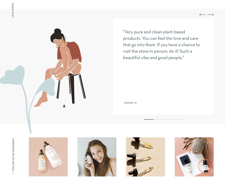 Om design system: testimonial slideshow, instagram section.