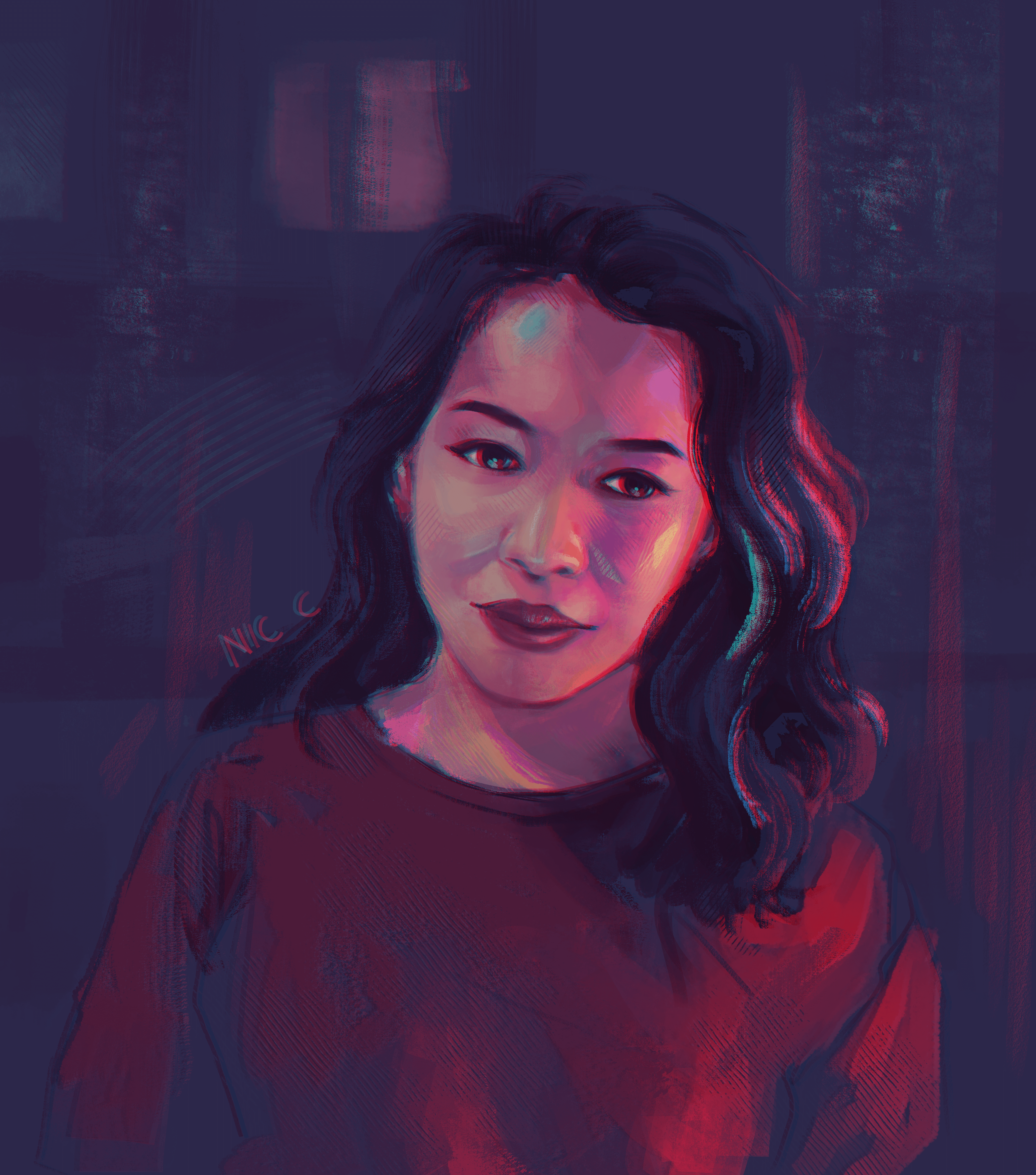 self portrait of Nic Chan painted in purples, pinks and teals