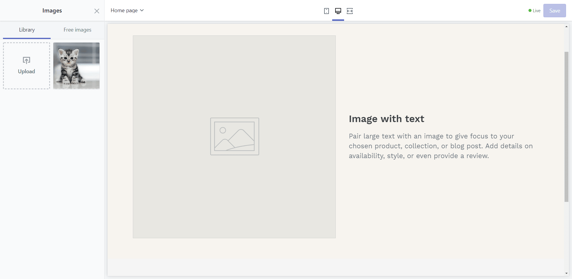 Shopify's Image picker UI, there is a tiny sidebar for images and the page UI takes the rest of the ginormous amount of space.