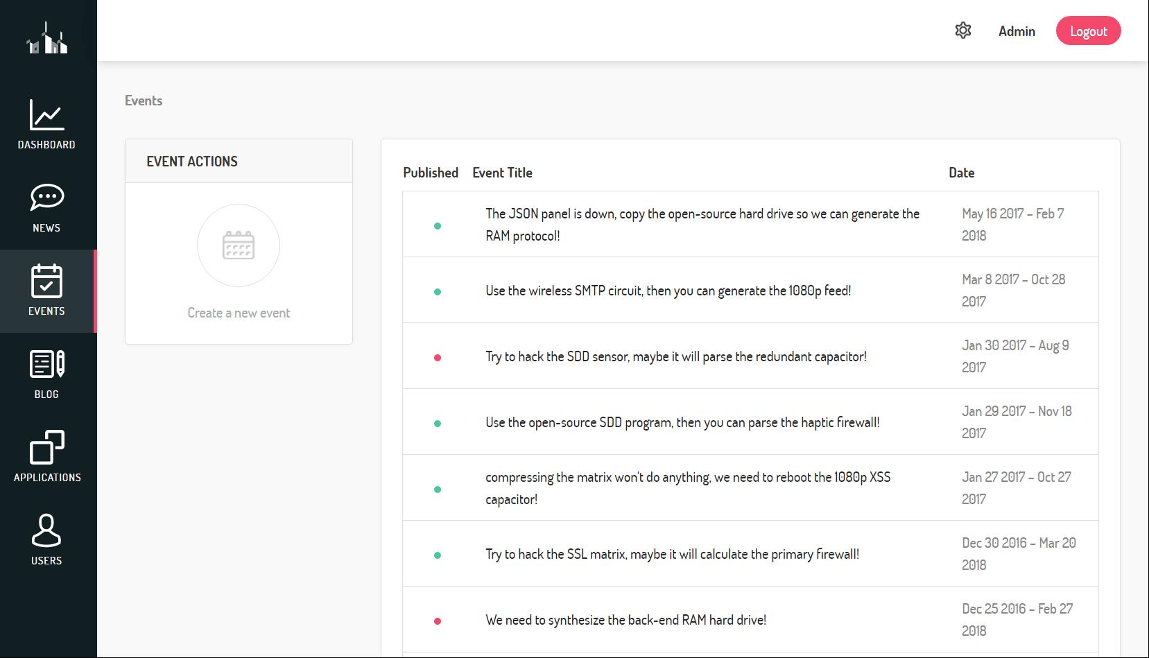 Portal news page.