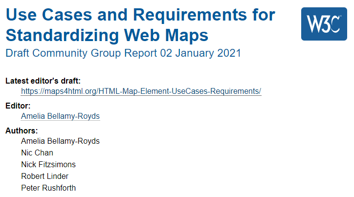 Use Cases and Requirements for Standardizing Web Maps, Nic Chan is listed as a co-author