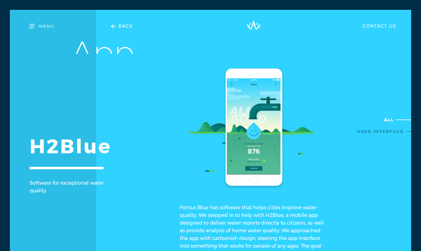 H2Blue case study from Wonderkiln.com.