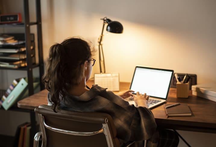 Job hunting on laptop