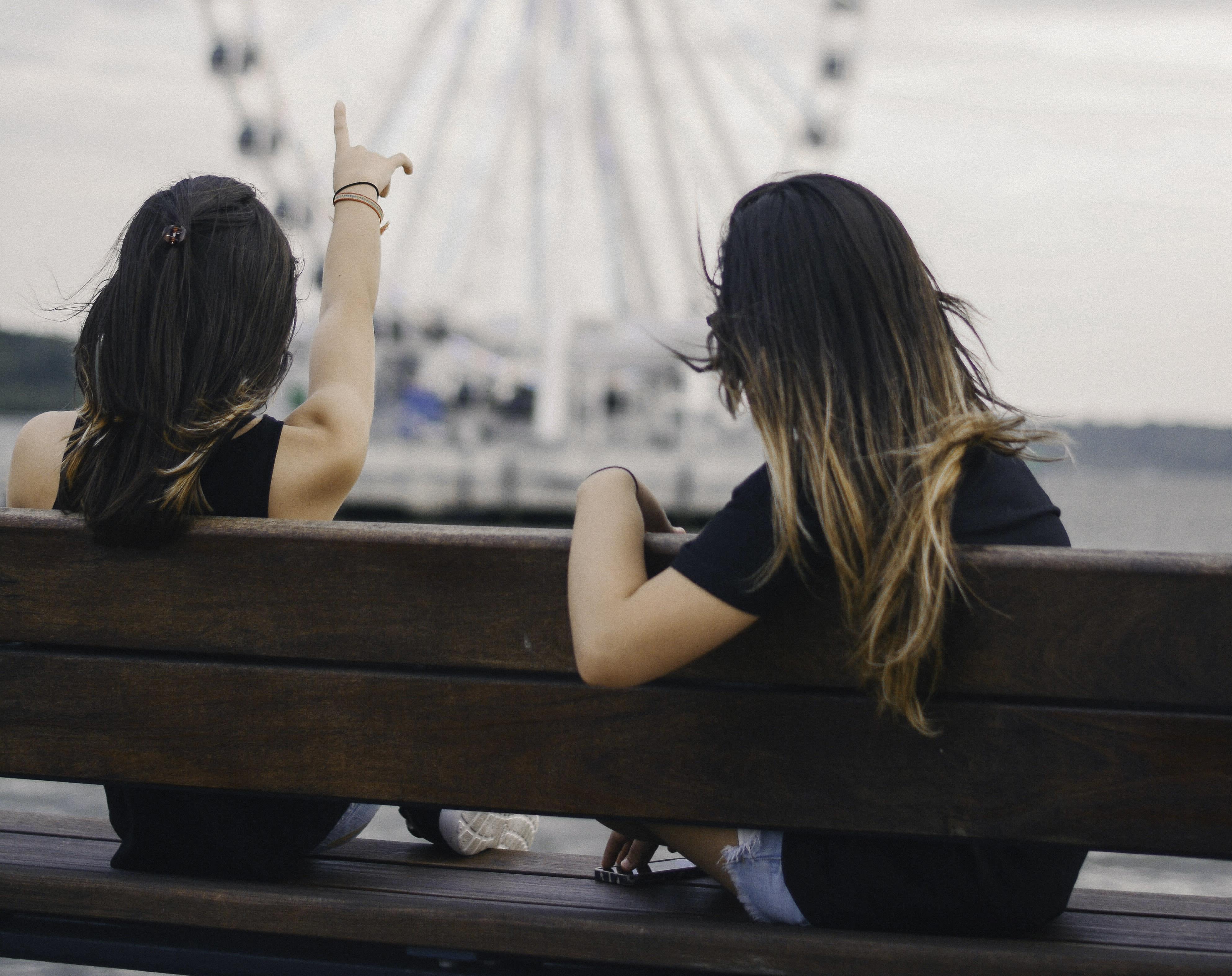 Two women watching a ferris wheel