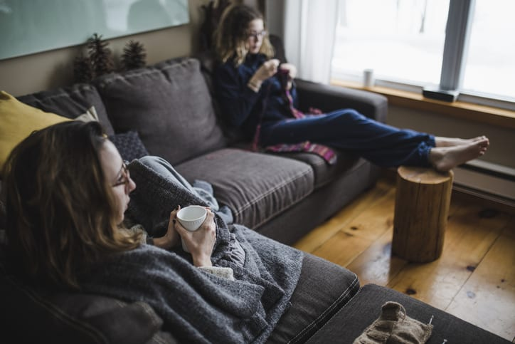 Two young woman relaxing on the sofa