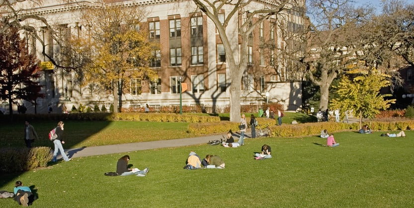 Students studying on the grass of a university quad.