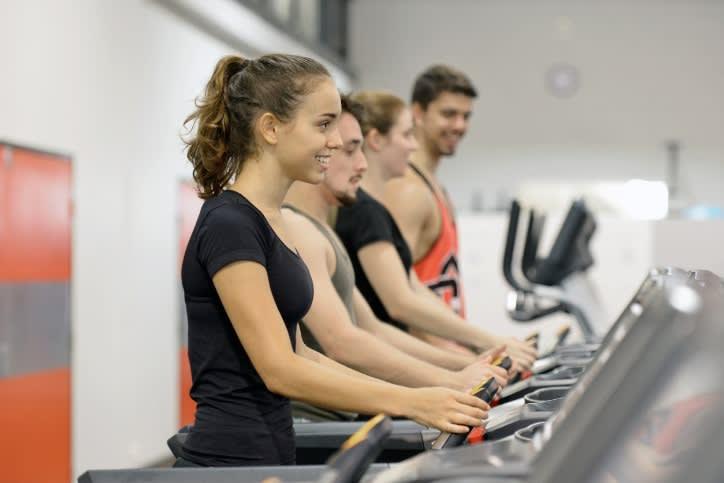 students on treadmill