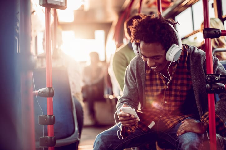 student listening to music