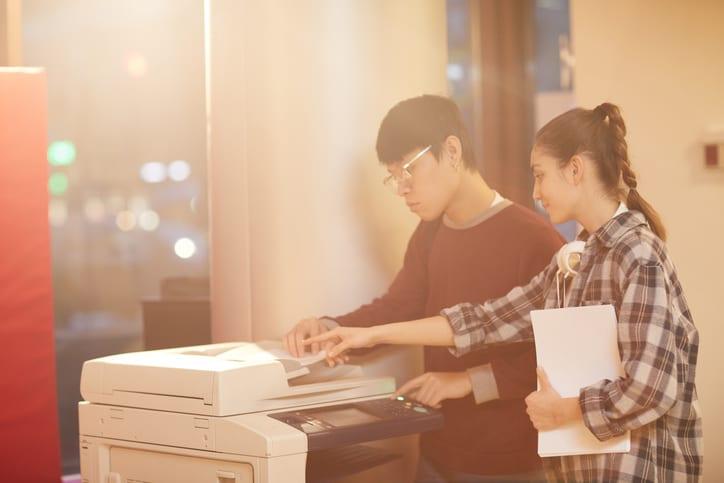 students using printer