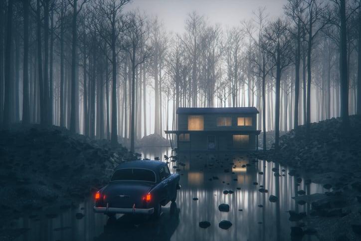 mysterious rural farmhouse