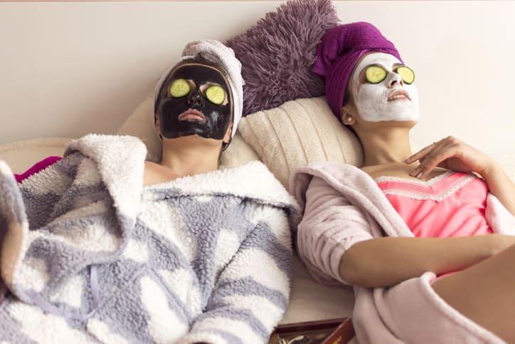 females students wearing skincare mask