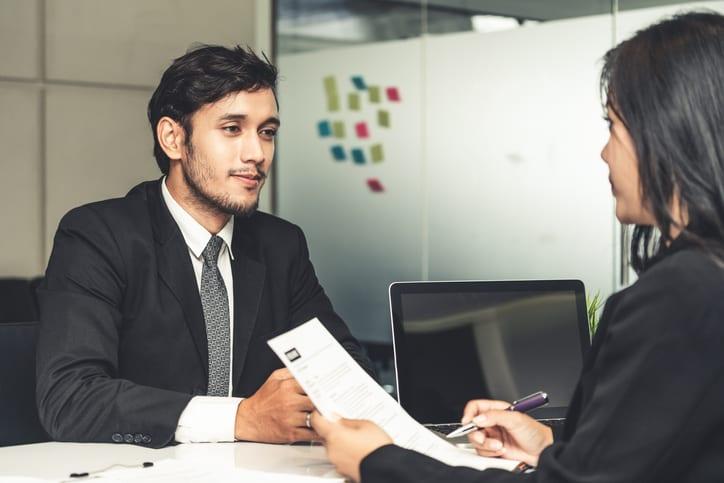 man in job interveiw