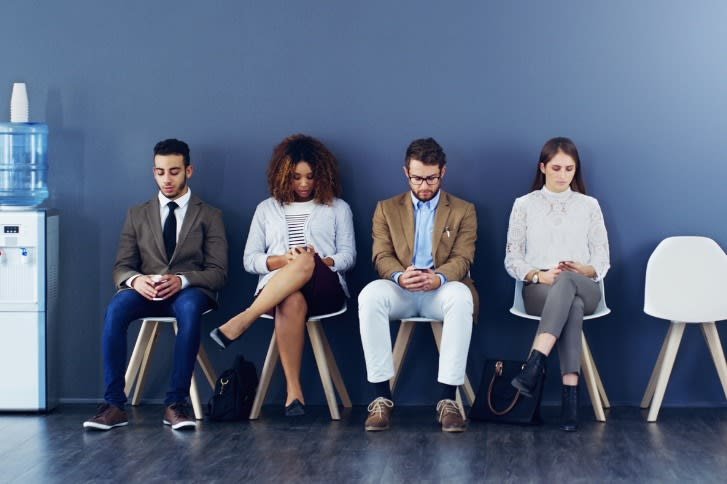 job candidates waiting for interview