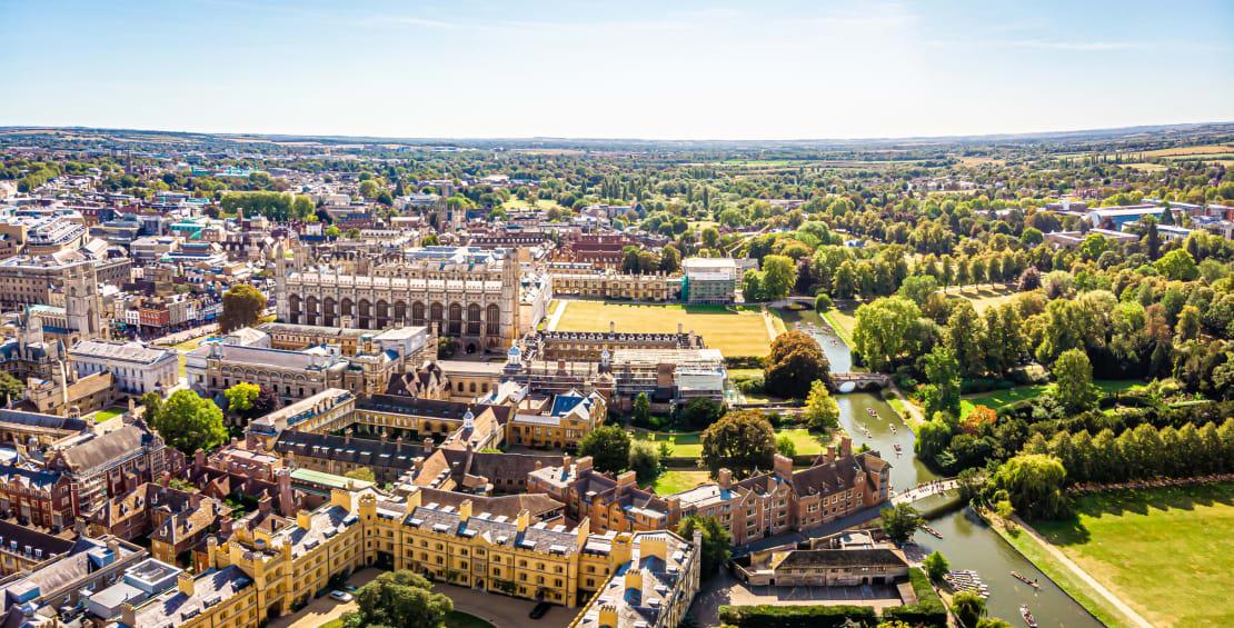Aerial view of Cambridge, UK
