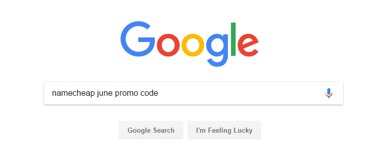 Namecheap promo code using google search
