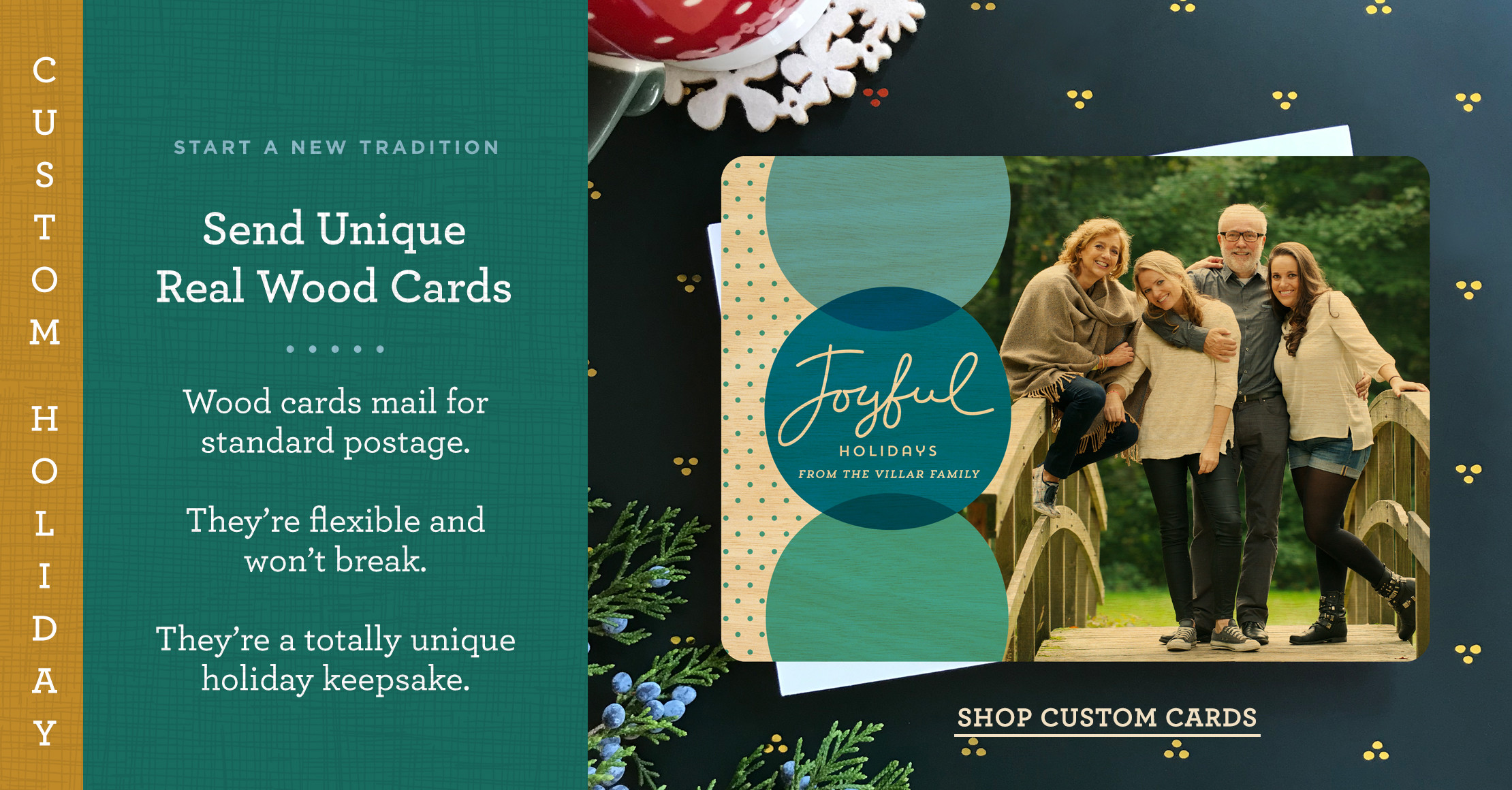 Start a new tradition with Custom Real Wood Holiday Card