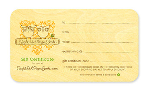 Night Owl Paper Goods • Gift Certificate