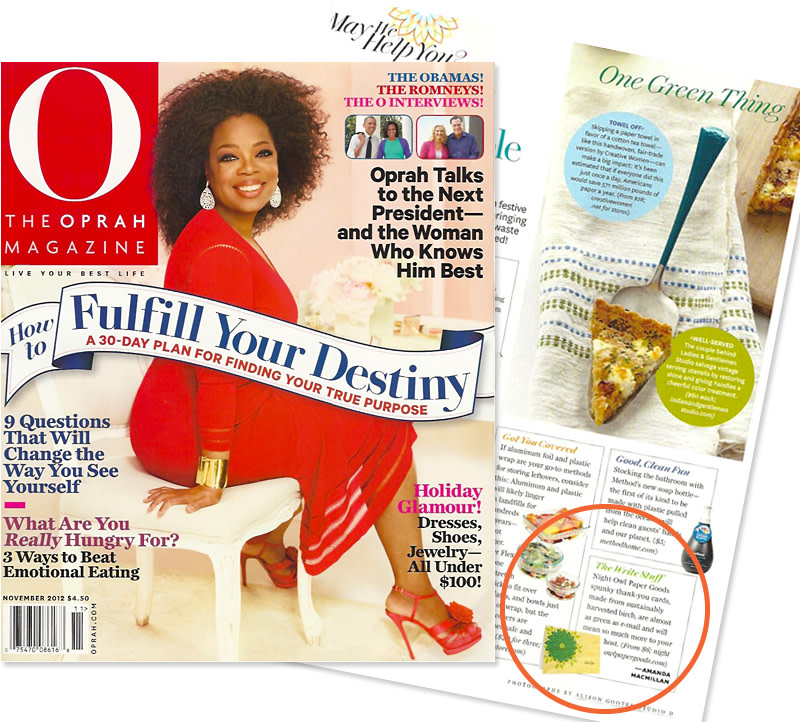 Design Featured in O, The Oprah Magazine