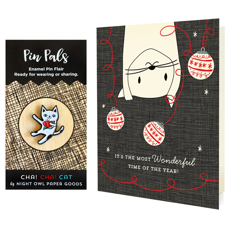 Crazy Kitty Holiday Cards & Enamel Pin Set