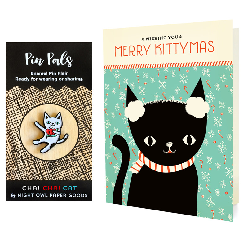 Winter Kitty Holiday Cards & Enamel Pin Set