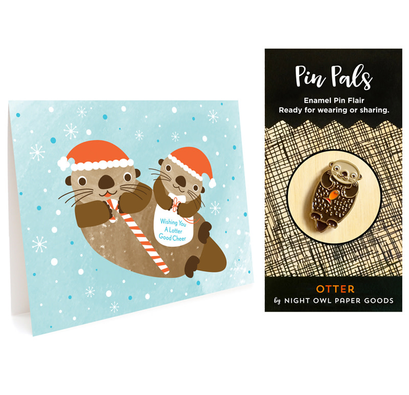 Lotter Otter Holiday Cards & Enamel Pin Set
