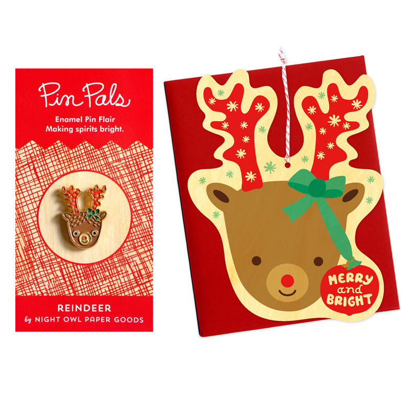 Reindeer Wood Ornament Cards & Enamel Pin Set