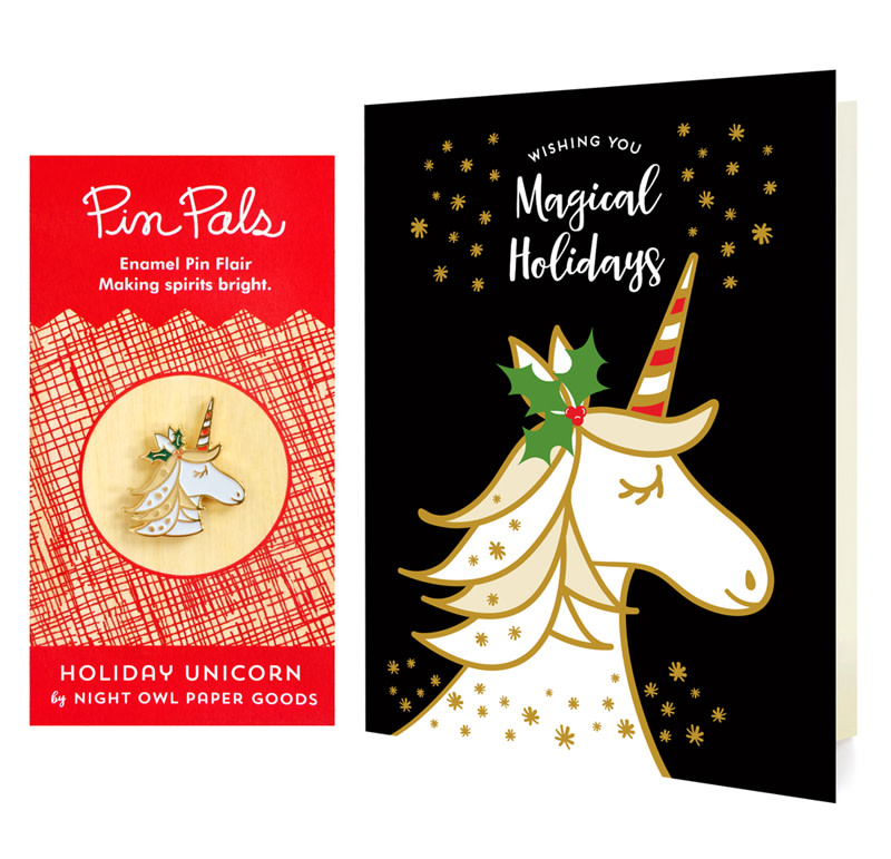 Magical Unicorn Black Holiday Cards & Enamel Pin Set