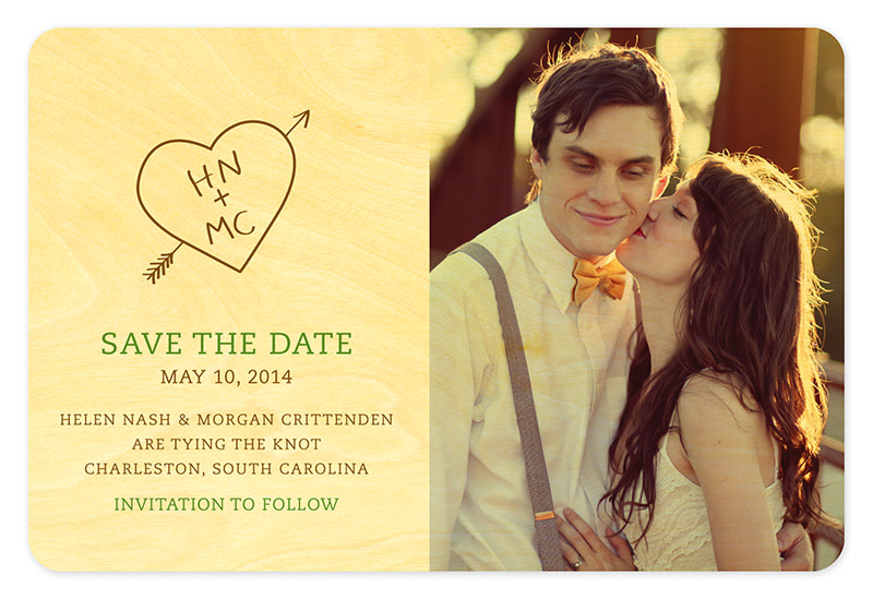Carved Heart Initials Save the Date