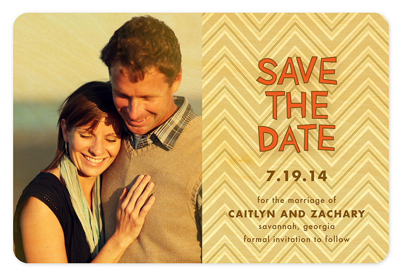 Khaki Chevron Save the Date