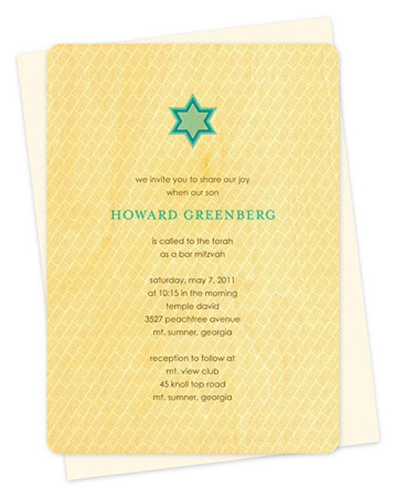 Diagonal Tile Bar Mitzvah Invitation