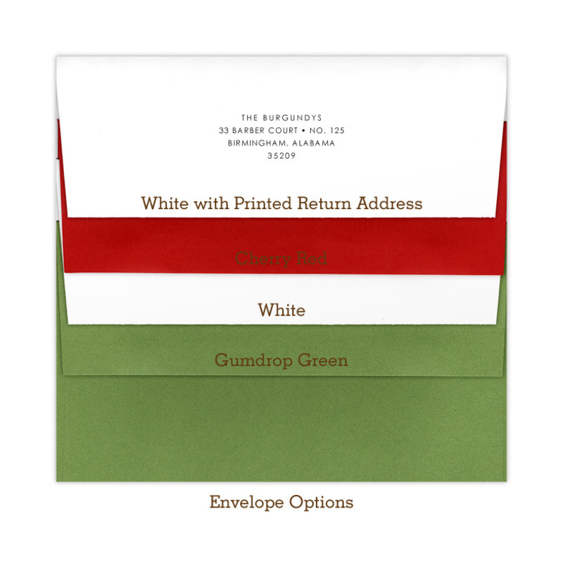 Envelope Options - Holiday Colors