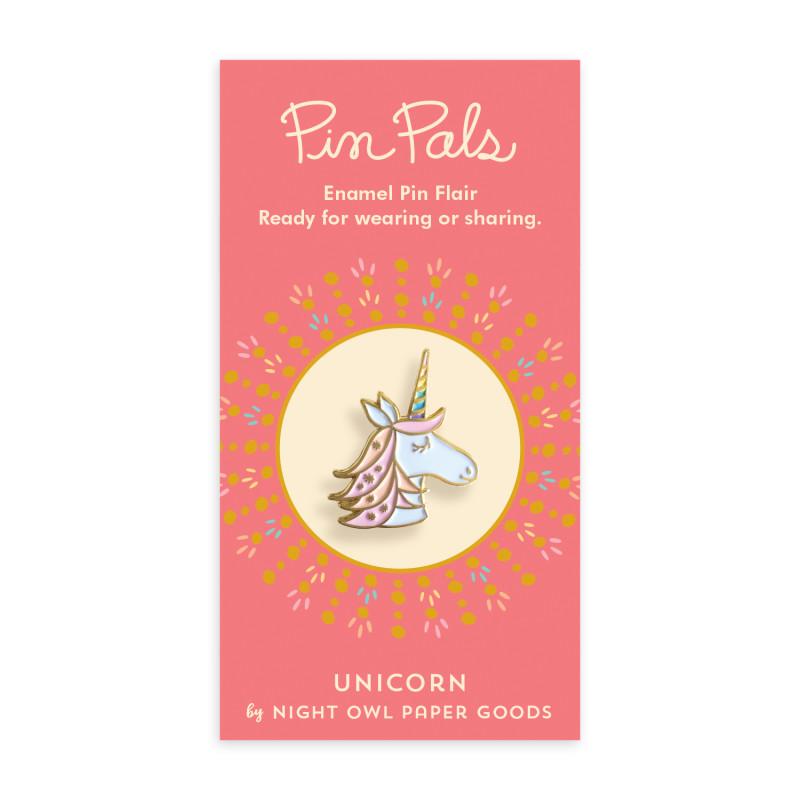 Magical Unicorn Blue Holiday Cards & Enamel Pin Set
