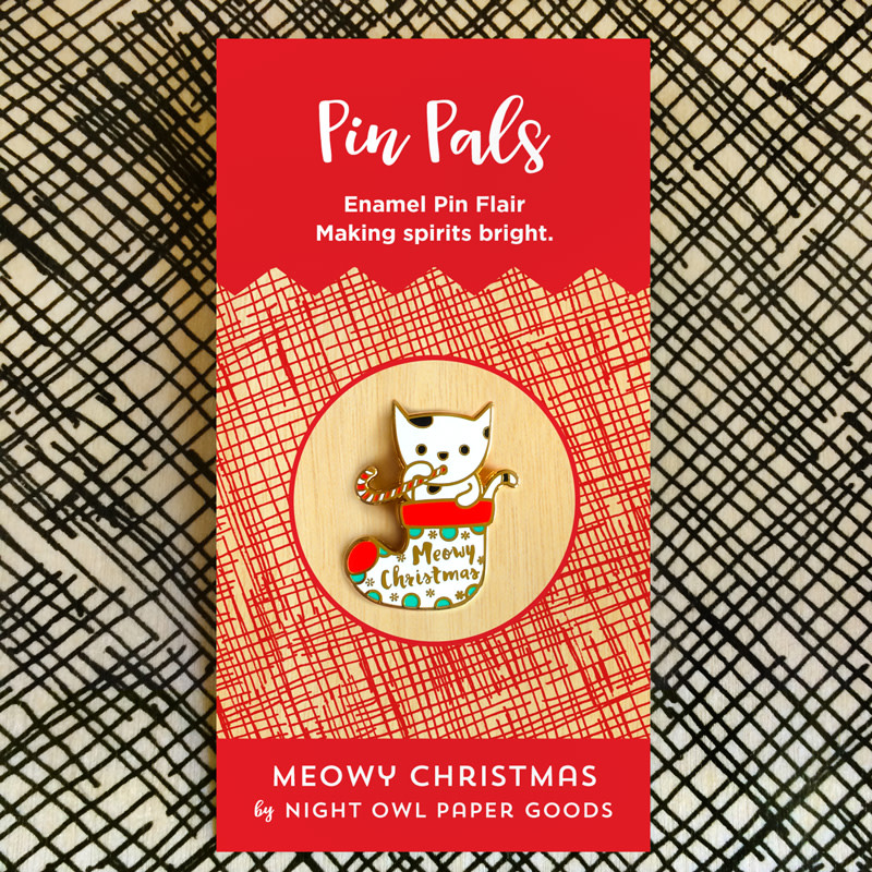 Meowy Christmas Holiday Cards & Enamel Pin Set