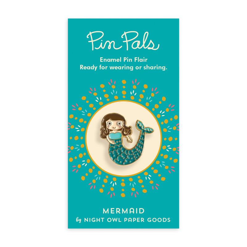 Merry Mermaid Wood Ornament Cards & Enamel Pin Set