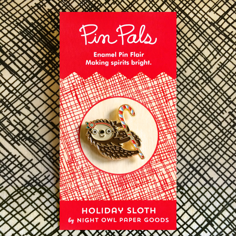 Sloth Holiday Cards & Enamel Pin Set