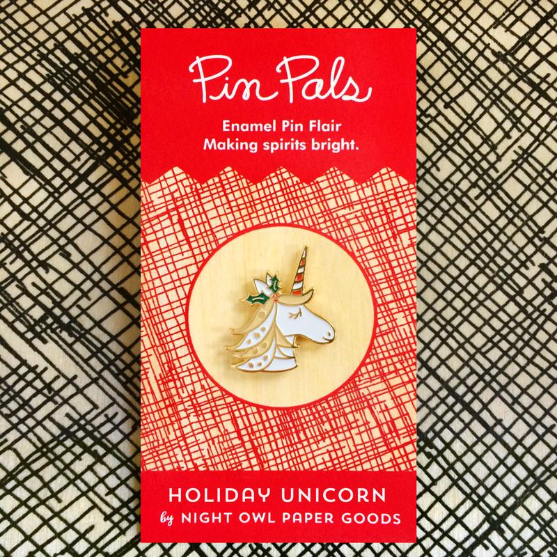 Magical Unicorn Black Holiday Cards & Enamel Pin Set